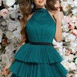 Нарядное вечернее платье с фатином сеткой ткань костюмка и открытой спиной скл.1 арт.53031