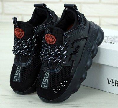 Мужские кроссовки Versace Chain Reaction Sneakers.Версаче. Black Black. Версаче