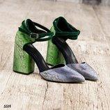 Туфли, натуральная кожа с принтом, с перекрестными ремешками