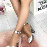 Туфли серебро каблук нат.кожа