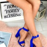 Босоножки синие на каблуке .нат.кожа