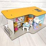 Кукольный домик. Пляжный домик с мебелью. Домик для лол.
