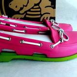 Топсайдеры кроксы - мокасины Crocs Beach Pink Green