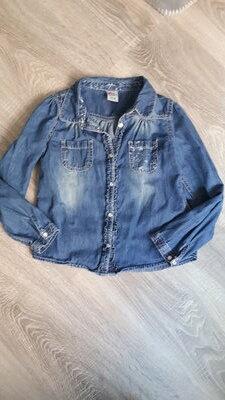 джинсовая рубашка для девочки 5-6 лет