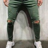 Стильные зелёные мужские джинсы 29-36