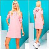 Розовое спортивное платье с капюшоном