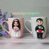 Чайная пара Жених и невеста .Чашки с полимерной глиной с женихом и невестой.Чашки на свадьбу.