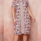 Платье с накидкой XL софт принт цветочный розовый джинсовый