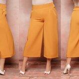 Женские укороченые брюки штаны кюлоты ткань костюмка версачи батал скл.1 арт. 54366
