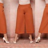 Женские укороченые брюки штаны кюлоты ткань костюмка версачи батал скл.1 арт. 54364