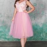 Платье нарядное вечернее выпускное бежевый голубой розовый