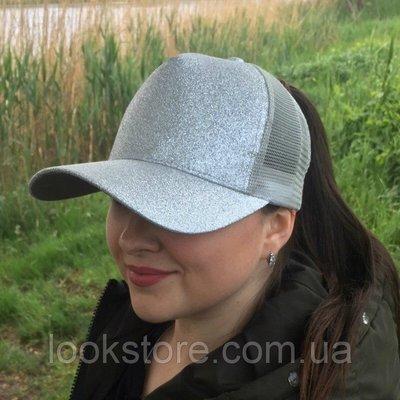 Женская блестящая кепка под хвост Glitter серебро