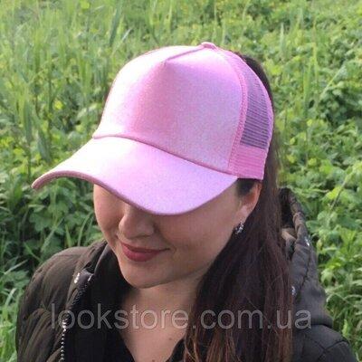 Женская блестящая кепка под хвост Glitter розовая