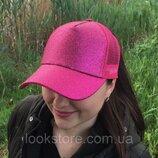 Женская блестящая кепка под хвост Glitter малиновая