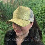 Женская блестящая кепка под хвост Glitter золото