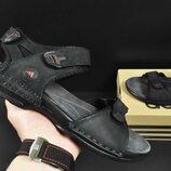 Мужские кожаные сандалии Adidas черно-синие