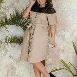 Платье-Рубашка батал, Размер 1 48-52 ,2 54-58 .