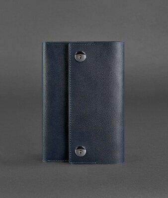 Блокнот кожаный на кнопках, софт-бук темно-синий ручная работа