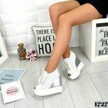 Летние ботиночки на платформе Натуральная кожа с перфорацией, стелька кожа цвет - Белый се