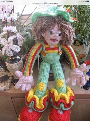 Кукла клоун.Вязаная кукла.