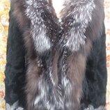Меховая куртка - полушубок, козочка - чернобурка, размеры м, l.
