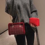 Модная твидовая сумка на цепочке с клатчем 2в1 В Наличии