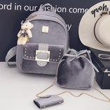 Милый бархатный набор 3в1 для стильных девушек рюкзак сумка визитница В Наличии