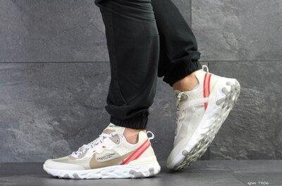 Nike Undercover X Nike React Element 87 кроссовки мужские демисезонные бежевые с красным 7906