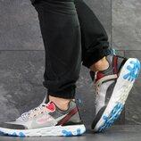 Nike Undercover X Nike React Element 87 кроссовки мужские демисезонные серые с бежевым 7907