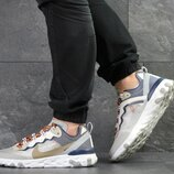 Nike Undercover X Nike React Element 87 кроссовки мужские демисезонные бежевые с темно синим 7909