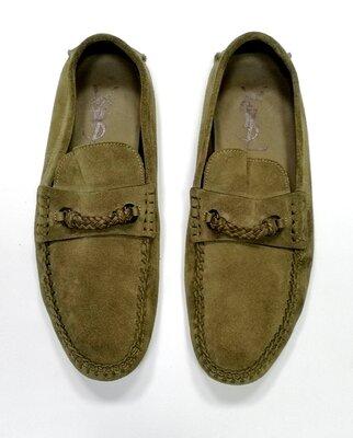 Мужские мокасины / туфли Yves Saint Laurent, оригинал, замшевые, цвет - хаки.