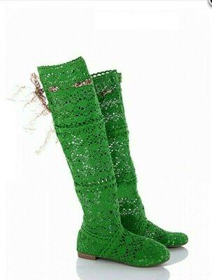 Вязаные летние ботфорты - зелёные