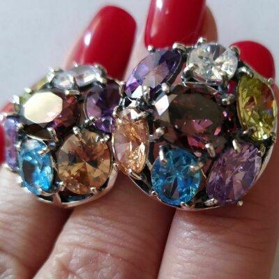 Серьги с крупными разноцветными фианитами. Серебро 925, вставки ...