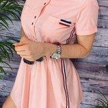 Платье повседневное лето спортивное коттон голубой черный хаки пудра
