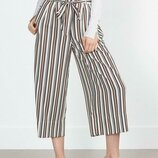 Стильные модные укороченные летние брюки кюлоты в полоску с поясом-бантом высокая посадка Zara.
