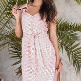 Женское летнее каттоновое платье рубашка в мелкий горошек скл.1 арт. 54464