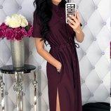 Женское летнее платье с разрезом ткань летняя костюмка скл.1 арт. 54463