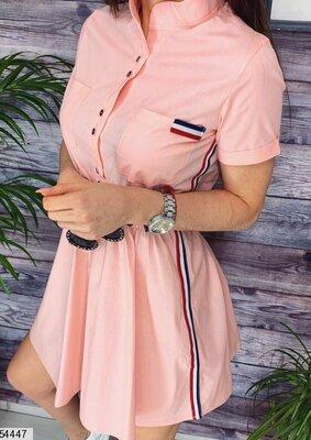 Женское коттоновое летнее платье микс лених цветов скл.1 арт. 54447