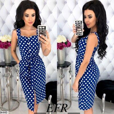 Женское летнее платье в крупный горошек костюмная ткань скл.1 арт. 54440