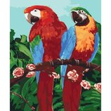 Картина по номерам. Животные, птицы Королевские попугаи 40 50см KHO4051