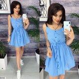 Женское платье ткань каттон на тонких брителях хаки голубой красный скл.1 арт. 54442