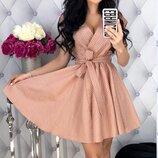 Женское платье из натуральной каттоновой ткань прин мелкий горошек скл.1 арт.54432
