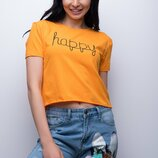 Укороченная хлопковая женская футболка топ Happy прямого кроя Турция скл.4 арт. 3665