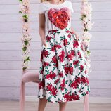 Яркая летняя юбка лен 618