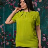 051 Женская Блуза С Короткими Рукавами Батал До 56 Р 19021-1