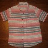 Фирменная m&s льняная рубашка мальчику 8-9 лет в новом состоянии