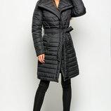 Зимняя куртка приталенного силуэта на поясе. Размеры 44-52, Отложной воротник, карманы на молнии, з