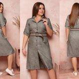 Платье - рубашка XL лен
