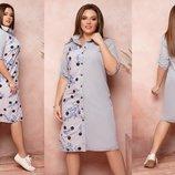 Платье рубашка XL коттон-стрейч,софт серый