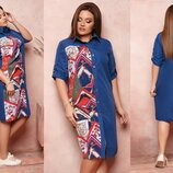 Платье рубашка XL коттон стрейч, софт принт синий